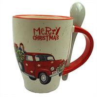Merry Christmas bögre kanállal - fenyőt szállító autó 9de6990703