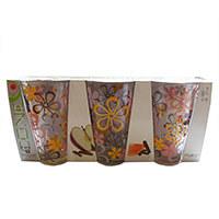 Virágmintás üdítős pohár készlet - 3 darabos